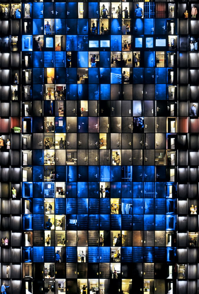 "Detail from Mikhael Subotzky and Patrick Waterhouse, ""Doors,"" Ponte City, Johannesburg, 2008–2010, light box with color transparency, 388 × 128.4 × 15.24 cm (152 ¾ × 50 ½ × 6 in.)"